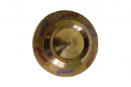Colorful ornamented metal husk yellow
